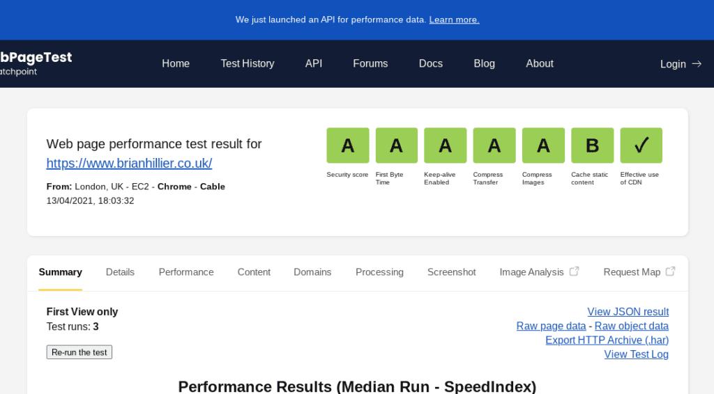 webpagetest security score a