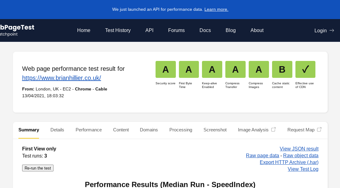 Webpagetest Security Score Additional Metric