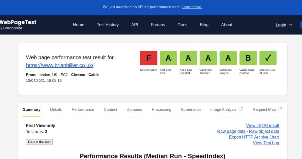 webpagetest security score f