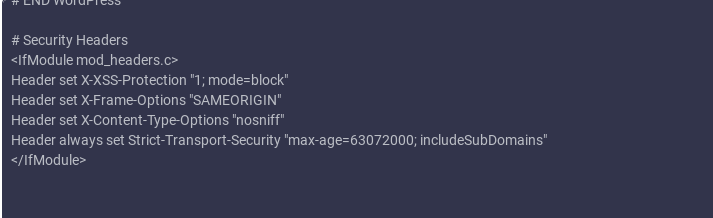 security headers htaccess code
