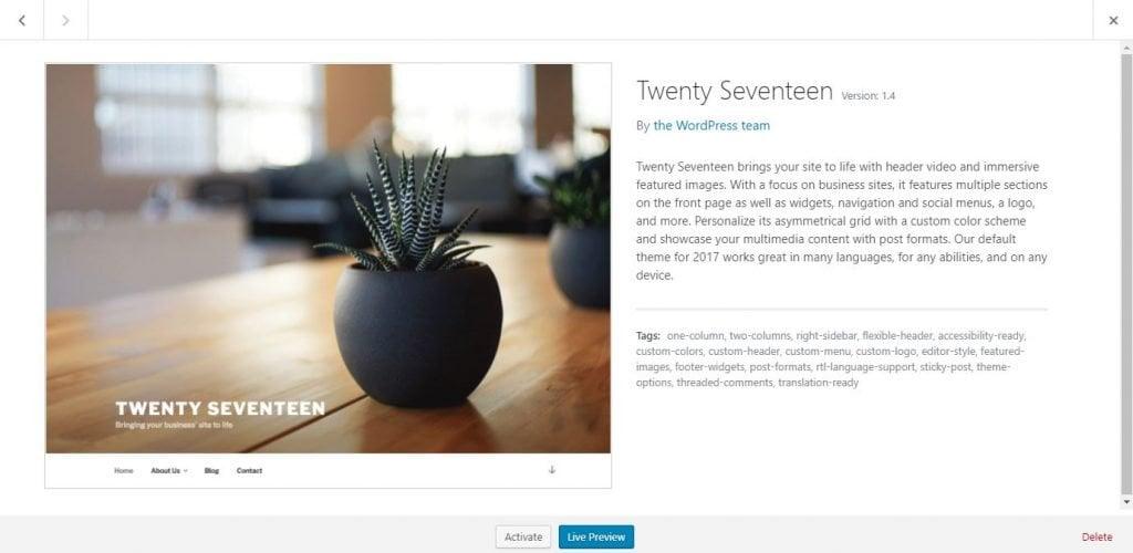 How To Delete WordPress Theme Completely twenty seventeen